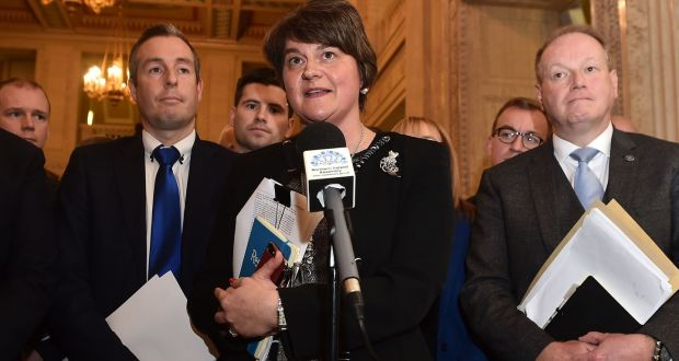 DUP leader Arlene Foster speaks to reporters after a meeting of   the Stormont Assembly on Monday ahead of changes to laws on abortion  and gay marriage  in Northern Ireland. Photograph: Charles McQuillan/Getty