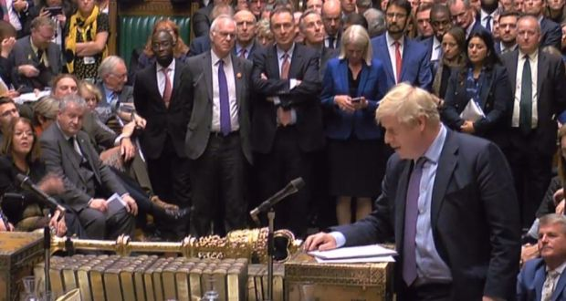Boris Johnson speaks in the House of Commons after the programme motion setting out the proposed timetable for the Brexit Withdrawal Agreement Bill was voted down on Tuesday night. Photograph: Handout/AFP/Getty