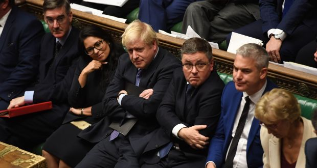UK prime minister Boris Johnson in the House of Commons after several MPs who supported the principle of key legislation opposed efforts to fast-track it through the Commons. Photograph: UK Parliament/Jessica Taylor/PA Wire