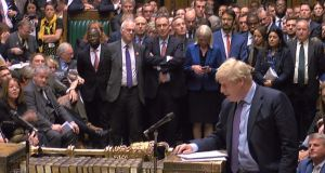 Britain's Prime Minister Boris Johnson speaking after the programme motion setting out the proposed timetable for the Brexit withdrawal Agreement Bill was defeated in a vote in the House of Commons in London on October 22nd, 2019. Photograph: AFP/Getty Images.