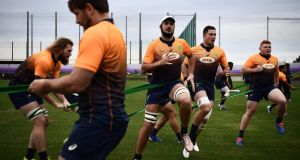 South Africa's lock RG Snyman, Lood De Jager, Francois Louw and Steven Kitshoff during training ahead of their Rugby World Cup semi-final against Wales. Photo: Anne-Christine Poujoulat/Getty Images
