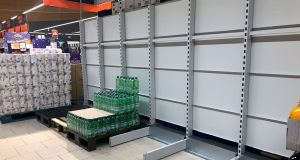 Low stocks of water at  Lidl in  Castleknock due to the boil water notice issued in the greater Dublin Area by Irish Water. Photograph: Alan Betson