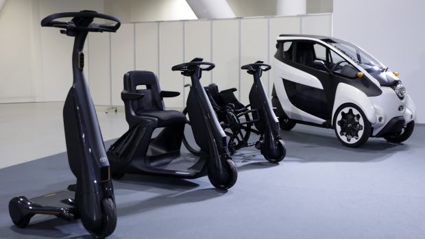 Toyota a vast array of mobility devices start with devices that clip onto wheelchairs to temporarily convert them to electric power - with speeds up to 10km and a range of 16km - through to Segway-like three-wheelers you can scoot around on while standing up.