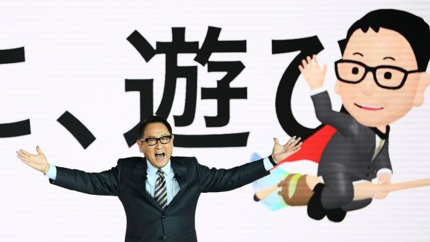 Toyota's boss Akio Toyoda embraced the new era most warmly of all the executives, invoking his cartoon caricature Morizo to spell out a future that also includes mobile services, in-car personal assistants and autonomous public transport to name just a few