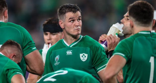Ireland's Johnny Sexton dejected after their defeat to the All Blacks in the World Cup quarter-finals. Before the match there was hope the team could once again reach unpredictable heights.  Photograph: Billy Stickland/Inpho