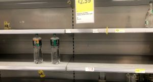 Low stocks of water in Supervalu, Castleknock, Dublin,  due to the boil water notice. Photograph: Alan Betson/The Irish Times