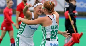 Ireland's Elena Tice and Zoe Wilson celebrate after beating Czech Republic in the FIH Women's Series Semi-Final, at Banbridge Hockey Club, Belfast,  in June. Photograph: Bryan Keane/Inpho