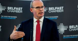 Tánaiste Simon Coveney speaking  during the annual Belfast Chamber of Commerce lunch. Photograph: Liam McBurney/PA Wire