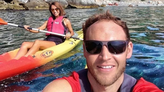 Robin Meredith with his partner Ieva Cakule, marketing manager of Tropical Coast Bootcamp, kayaking in Granada.