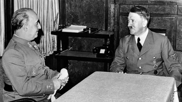 German Nazi leader Adolf Hitler meets with Spanish fascist leader Francisco Franco in October 1940. File photograph: AFP via Getty Images