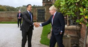 Taoiseach  Leo Varadkar meets with UK prime minister  Boris Johnson: they unlocked the impasse between Britain and Ireland in the Wirral earlier in October. Photograph: PA