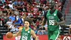 Boston Celtics Tacko Fall in action with team-mate  Carsen Edwards   against the Memphis Grizzlies during the 2019 NBA Summer League  in Las Vegas. Photograph: Ethan Miller/Getty Images