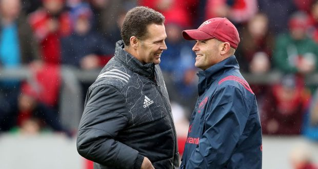 Munster director of rugby Rassie Erasmus and defence coach Jacques Nienaber at Thomond Park, Limerick in October 2017. Photograph: Billy Stickland/Inpho