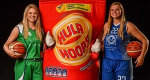 Kylee Smith of Liffey Celtics and Tatum Neubert of Glanmire  at the 2019/2020 Basketball Ireland season launch and Hula Hoops National Cup draw at the National Basketball Arena in Tallaght, Dublin. Photograph:  David Fitzgerald/Sportsfile