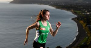 "Ciara Mageean at the launch of Circle K's ""Here for Ireland"" initiative at Killiney Hill Park, Co Dublin. Photograph:  Stephen McCarthy/Sportsfile"