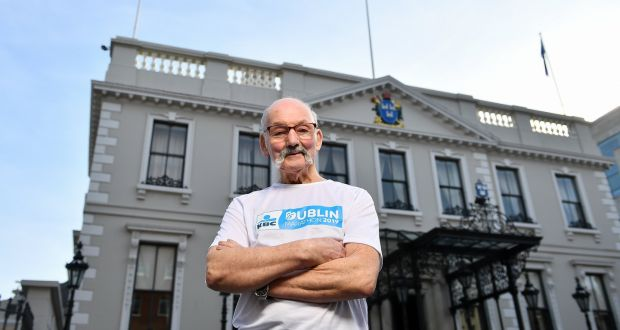Frank Behan at the Mansion House in Dublin. He is the oldest of 13 people to have completed all 39 Dublin Marathons since 1980. Photograph: David Fitzgerald/Sportsfile