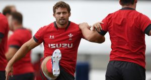 Wales' full back Leigh Halfpenny attends a training session at Noguchibaru General Sportsground ahead of the Rugby World Cup semi-final against South Africa. Photo: Charly Triballeau/Getty Images