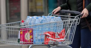 Shoppers stock up on drinking water at a Lidl store in Leixlip, following the boil water notice affecting more than 600,000 people. Photograph: Colin Keegan/Collins