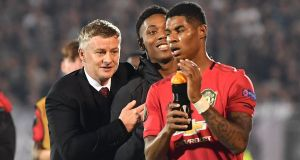 Manchester United manager Ole Gunnar Solskjaer with Anthony Martial and Marcus Rashford after the 1-0 Europa League win over Partizan Belgrade. Photo: Andrej Isakovic/Getty Images