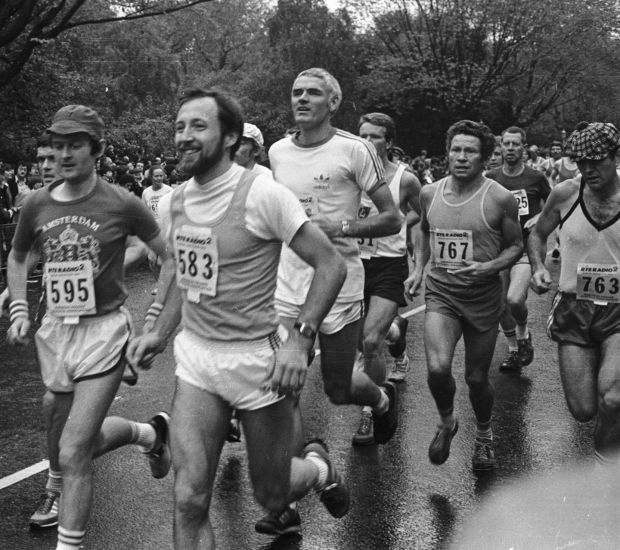 Noel Carroll, in the white T-shirt, in the first Dublin City Marathon, in 1980. Photograph: Jack McManus