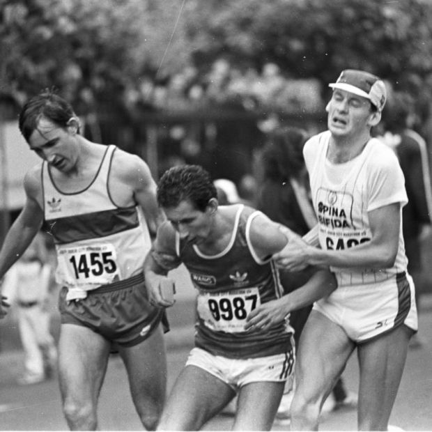 The ecstasy... and the agony: struggling to the finish in 1983. Photograph: Dermot O'Shea