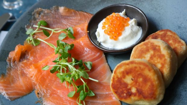 Burren smoked salmon, fermented potato bread, Goatsbridge caviar, horseradish creme fraiche at the Commons Cafe at (Moli) Museum of Literature Ireland, Dublin. Photograph: Nick Bradshaw / The Irish Times
