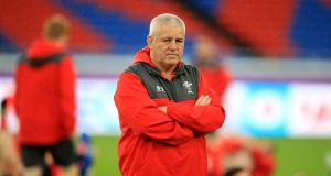 Wales' coach Warren Gatland during a training session at the International Stadium, Yokohama. Photograph:  Adam Davy/PA Wire.