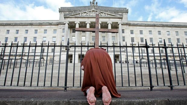 An anti-abortion activist poses for a photograph outside Parliament Buildings. Photograph: Paul Faith/AFP via Getty