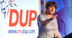 DUP leader Arlene Foster speaking at the party's annual conference at the Crown Plaza Hotel in Belfast. Photograph: Michael Cooper/PA Wire