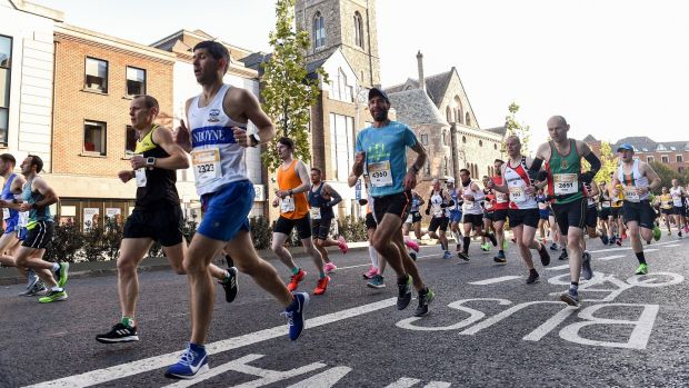 A general view of runners passing Christ Church Cathedral during the 2019 Dublin Marathon. Photograph: Sam Barnes/Sportsfile