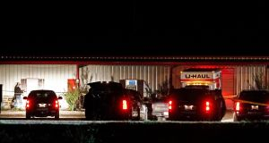 The scene outside the Party Venue after a shooting in Greenville, Texas. Photograph: EPA/LARRY W. SMITH