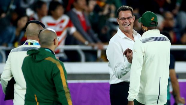 Rassie Erasmus celebrates South Africa's win over Wales. Photograph: James Crombie/Inpho