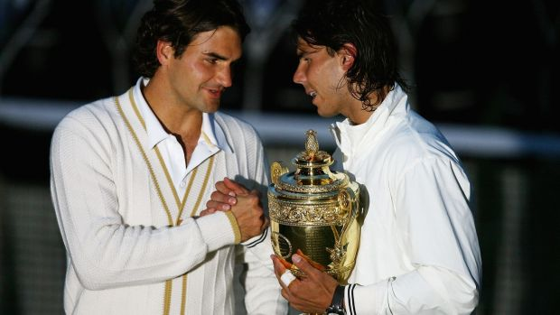 Roger Federer congratulates Rafael Nadal after the Spaniard's Wimbledon victory in 2008. Photograph: Inpho