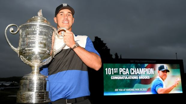 Brooks Koepka with the Wanamaker Trophy after his 2019 US PGA victory. Photograph: Ross Kinnaird/Getty
