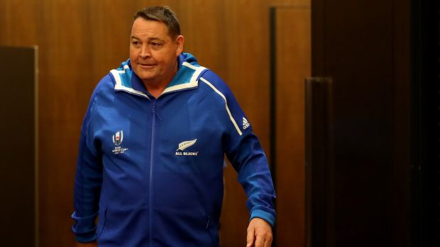 New Zealand head coach Steve Hansen arrives for a press conference in Tokyo on Sunday. Photograph: Hannah Peters/Getty Images