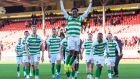 18-year-old Jeremie Frimpong celebrates after Celtic's win over Aberdeen. Photograph: Ian Rutherford/PA
