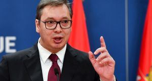 Serbian president Aleksandar Vucic, who  will meet European Commission president Jean-Claude Juncker in Brussels on Tuesday. Photograph:  Andrej Isakovic/AFP