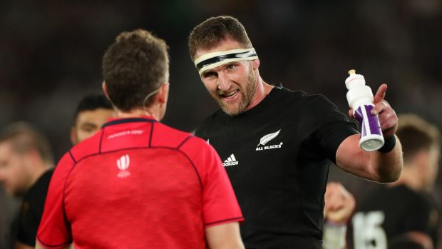 Referee Nigel Owens has a word with New Zealand captain Kieran Read during the Rugby World Cup semi-final match against England and the All Blacks at International Stadium Yokohama on Saturday. Photograph: Hannah Peters/Getty Images