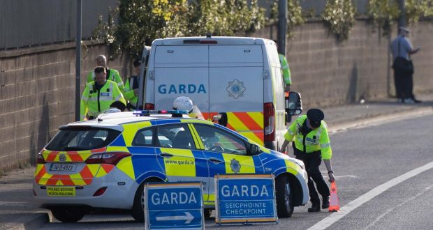 A Garda checkpoint. File photograph: Tom Honan