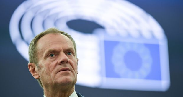 Donald Tusk: EU has agreed a three-month flexible Brexit extension for the UK. Photograph: EPA/PATRICK SEEGER