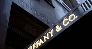 The logo of luxury  retailer Tiffany & Co is seen on 5th Avenue in Manhattan. Photograph: Johannes Eisele/AFP via Getty Images