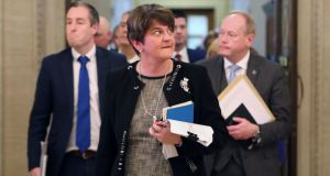 Arlene Foster and her DUP MLAs leaving the chamber of Stormont  in Belfast on October 21st, following a failed attempt to restore devolved government in   Northern Ireland. Photograph: Niall Carson/PA Wire