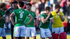 Ireland players react after losing to Canada  during their Olympic qualifier in Vancouver, Canada. Photograph: Darryl Dyck/Sportsfile