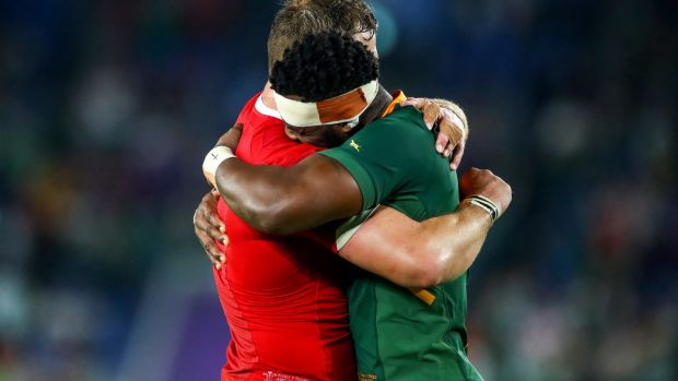 South Africa's Siya Kolisi and Duane Vermeulen celebrate after beating Wales. Photograph: James Crombie/Inpho