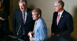 Representatives Mark Meadows, Jim Jordan and  Michael Conway  speak to reporters outside a closed-door deposition  as part of the US House of Representatives impeachment inquiry. Photograph: Erin Scott/Reuters