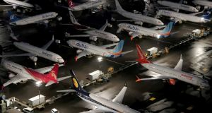 Boeing 737 Max airplanes parked at Boeing Field in Seattle, Washington. Photograph: Gary He/File Photo/Reuters