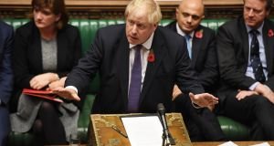 British prime minister Boris Johnson during an election debate in the House of Commons. Photograph: Jessica Taylor/EPA/UK parliament handout