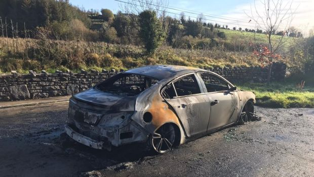 The aftermath of the fire that destroyed Martin Kenny's car. Photograph supplied by Brian Farrell