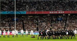 England face the Haka during the Rugby World Cup semi-final in Yokohama. Photograph: James Crombie/Inpho
