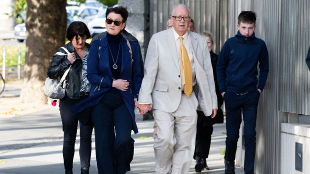 Geraldine and Patric Kriegel arriving at the Criminal Courts of Justice on Tuesday. Photograph: Tom Honan